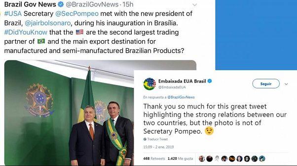 Pompeo scambiato per Orbán: gaffe del governo brasiliano su Twitter