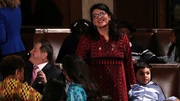 رشیده طلیب در کنگره آمریکا؛ سوگند به قرآن با لباس فلسطینی