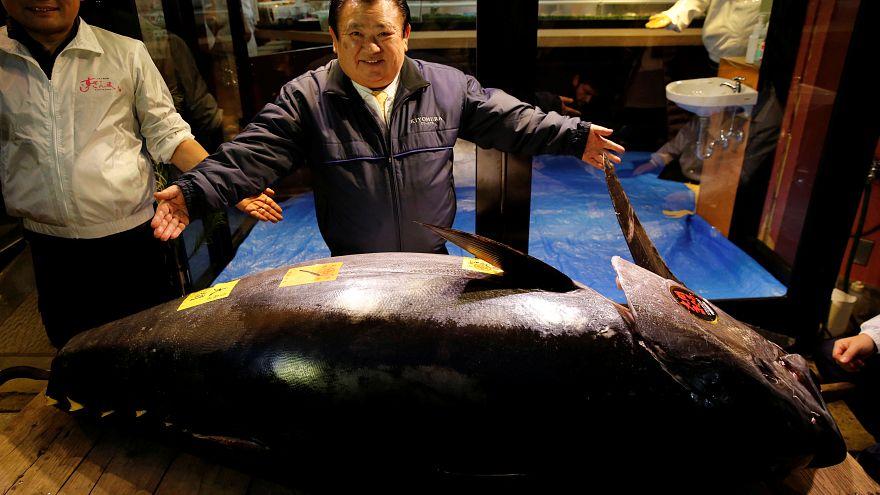 Kiyoshi Kimura poses with a 278kg bluefin tuna