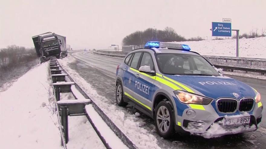 Travel disruption as heavy snow hits central Europe