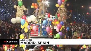 """Végigvonultak a """"Háromkirályok"""" Madrid utcáin"""