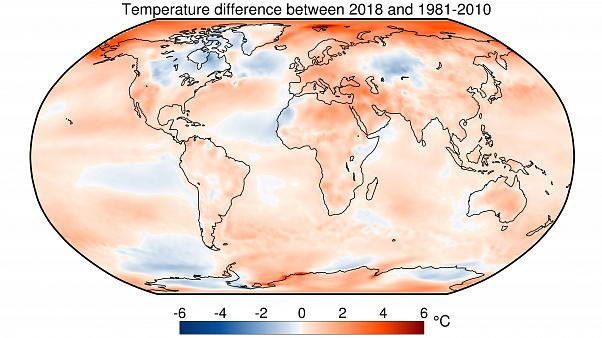 Temperaturas de 2018 respecto a la media 1981 -2010