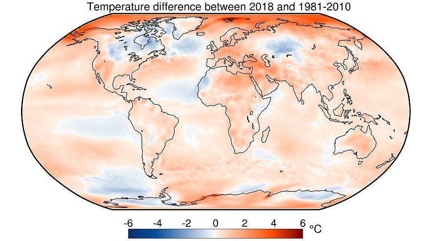Temperaturas de 2018 respecto a la media 1981 -2010