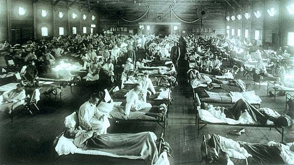 Emergency military hospital during influenza epidemic, Camp Funston, Kansas