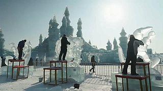 ساخت ۲۰۱۹ آدم برفی در جشنواره مجسمه های یخی در چین