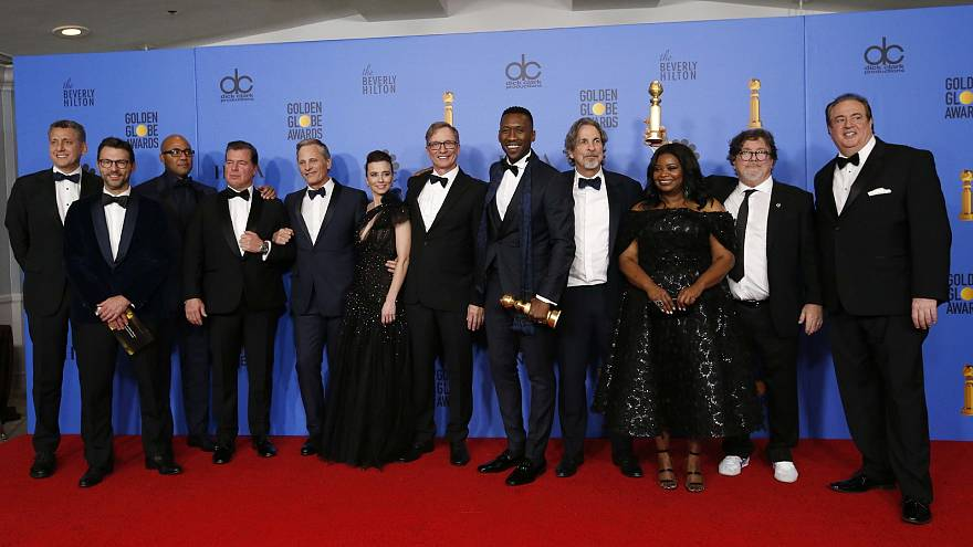 """76th Golden Globe Awards - The cast and crew of """"Green Book"""""""
