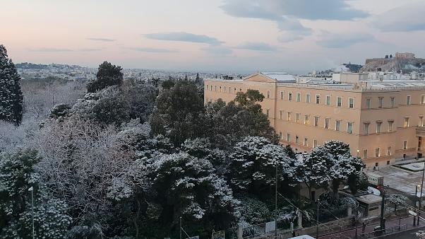 Starker Schneefall in Athen