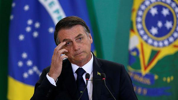 Presidente Jair Bolsonaro numa cerimónia no Palácio do Planalto