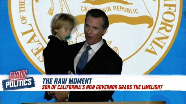 Raw Moment: Child proves perfect prop to California Governor's inauguration speech