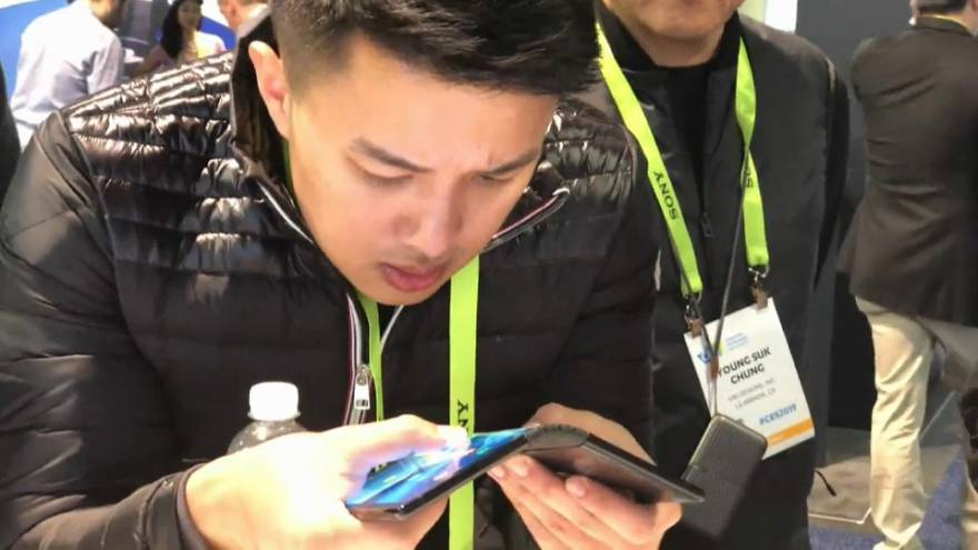 Foldable screens and smartphones preview at technology show
