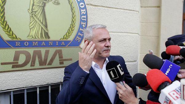 Liviu Dragnea pictured outside Romania's anti-corruption directorate.