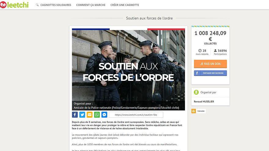 Recaudan más de un millón de euros en apoyo a la policía, los chalecos amarillos responden