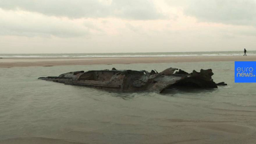 WW1 German submarine emerges from French beach