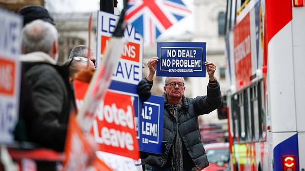 Pro-Brexit activists protest outside the UK Houses of Parliament.
