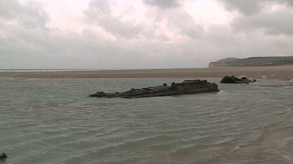 U-Boot aus dem Ersten Weltkrieg am Strand