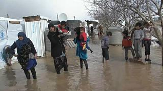 تخریب زاغههای پناهجویان در لبنان بر اثر طوفان نورما