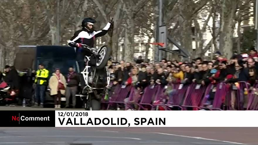 """Biker """"Penguins"""" meet in chilly Spanish city of Valladolid"""