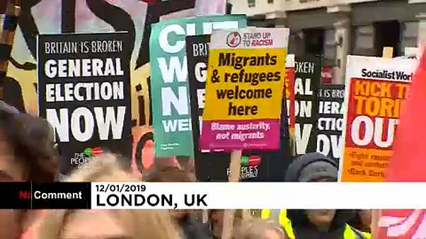 Anti-government and pro-Brexit protesters clash in London