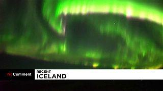 نورهای خیرهکننده شفقهای قطبی در آسمان ایسلند