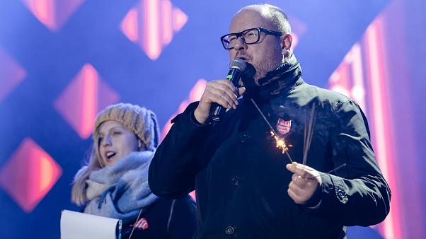 Gdansk's Mayor Pawel Adamowicz speaks during the charity event