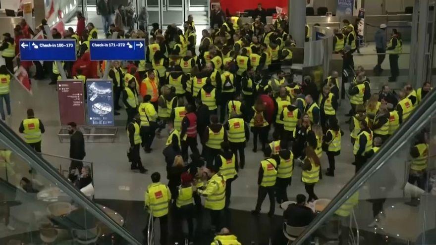 Video | Almanya: Havaalanlarında güvenlik personeli greve gidiyor