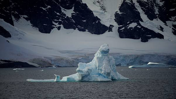 An iceberg floats near Orne Harbour, Antarctica
