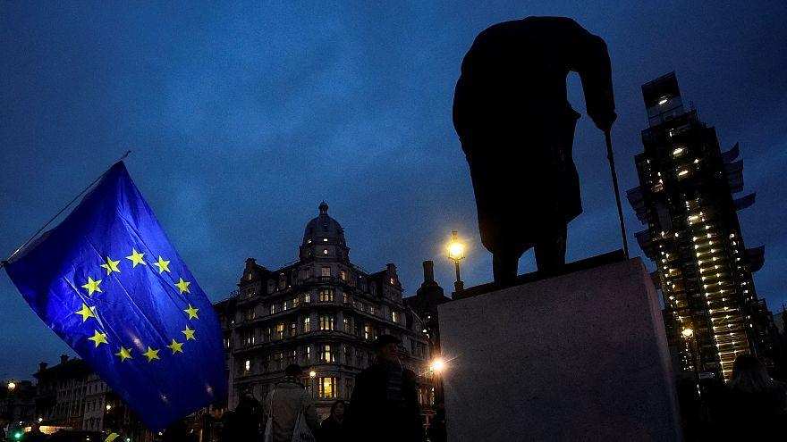 EU flag next to the statue of Winston Churchill outside Parliament