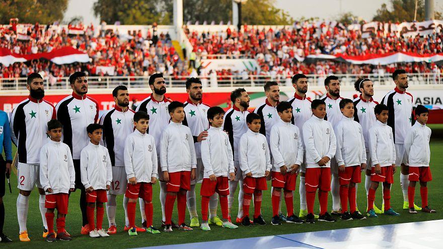 منتخب سوريا قبل بدء مباراته أمام أستراليا في كأس آسيا