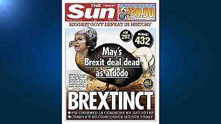 La derrota de Theresa May copa todas las portadas