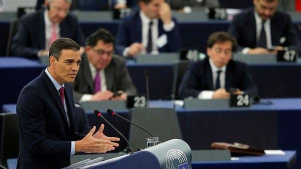 Pedro Sanchez discursa no Parlamento Europeu