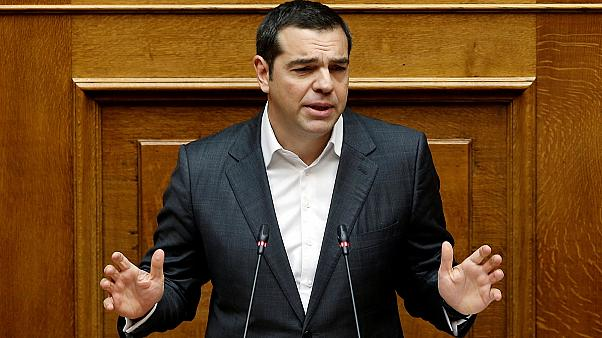 Prime Minister Alexis Tsipras addresses the Greek parliament.
