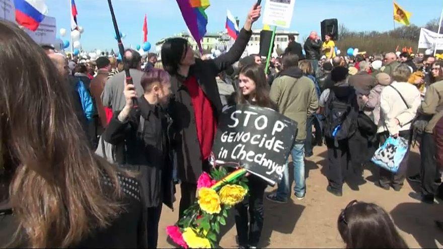 A pro-LGBTQ protest in Russia in 2017