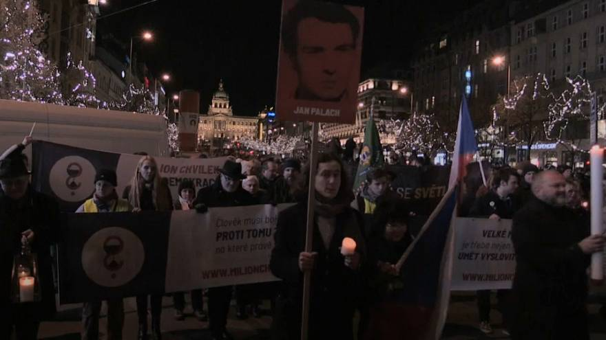 Czechs march in tribute to 1969 student activist's self-immolation