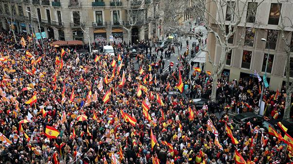 Pro-Spain demonstrators in Barcelona