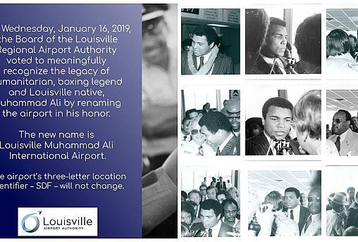 """إطلاق اسم """"محمد علي"""" على مطار لويسفيل الدولي تكريماً لمسيرة الملاكم الأسطورة"""