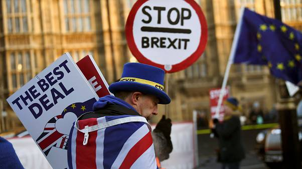 An anti-Brexit protester outside the Houses of Parliament on Jan 17, 2019.