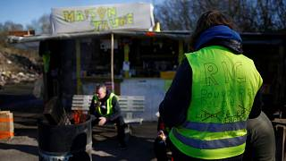 Gilets Jaunes protesters in Ancenis, France, January 18, 2019.