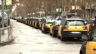 Huelga de taxis en Barcelona y Madrid