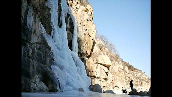 Wasserfall am Heiligen Berg eingefroren