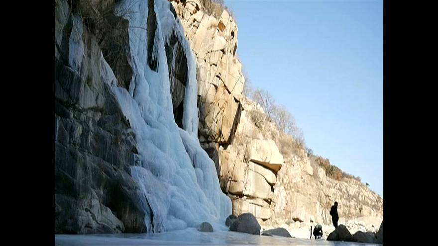 Stunning view of large Icicle waterfall in east China's Mount Taishan