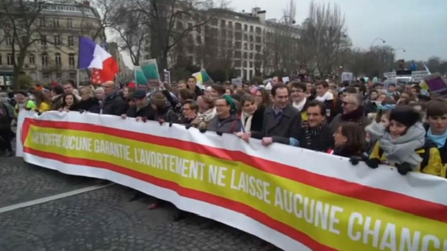 Thousands rally against abortion and medically assisted reproduction in Paris