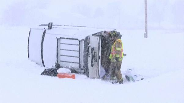 Heavy snowfall makes a mess on roads in US northern states