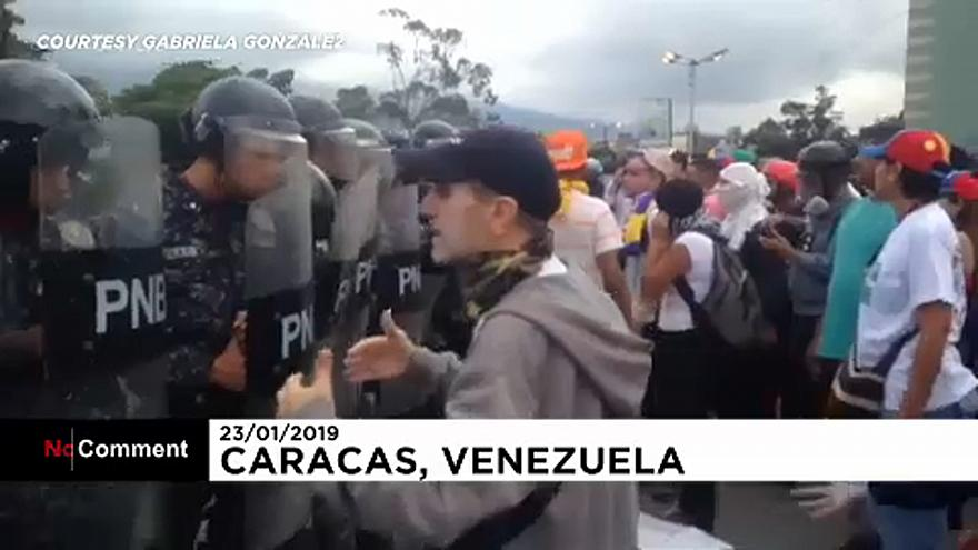 Venezuelan protesters hurl objects at police