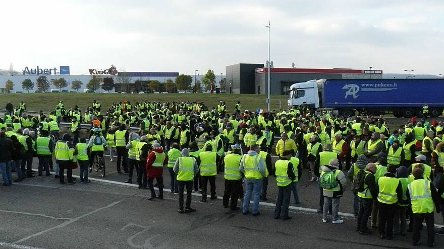 إحدى مظاهرات السترات الصفراء في فرنسا