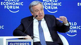 UN Secretary-General Antonio Guterres attends the World Economic Forum.