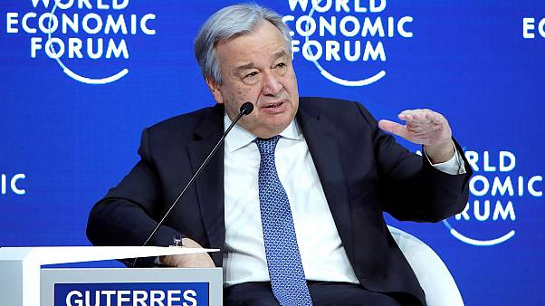 UN Secretary-General Antonio Guterres attends the World Economic Forum.