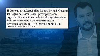 "Seawatch, Salvini scrive a Olanda: ""naufraghi sono vostra responsabilità"""
