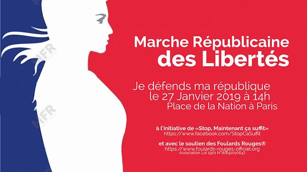 The poster for the 'foulards rouges' march