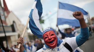 A Nicaraguan dissident at a march in protest against the Ortega government.