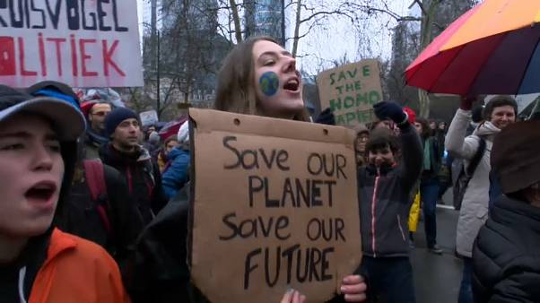 Multitudinaria manifestación en Bruselas contra el cambio climático